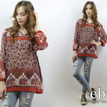 Indian Gauze Top Indian Top Indian Blouse Indian Tunic Hippie Top Hippie Tunic Boho Tunic Boho Top Festival Tunic Festival Top Hippy Top