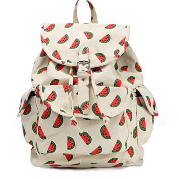 Creative Women's Canvas Watermelon Backpack Travel Bag College School Bag Daypack