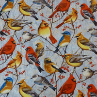 Cotton Fabric, Home Decor Cotton Fabric, Quilt Cotton Fabric, Winter Gathering by Cynthie Fisher for Wilmington Prints, Birds