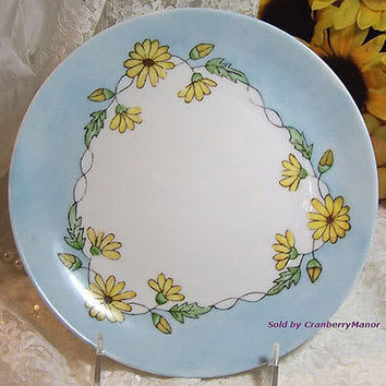 SALE Rosenthal Plate Dish German Selb Bavaria Germany Yellow Daisy Spring Garden Flower Blue Porcelain Vintage Antique Designer Decor China