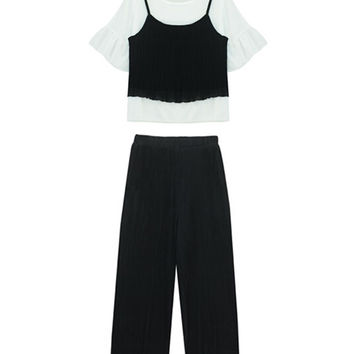 Three Pieces Suit with Wide Leg Pants