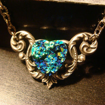 Victorian Style Blue Green Faux Druzy / Drusy Heart Necklace in Antique Silver (1093)