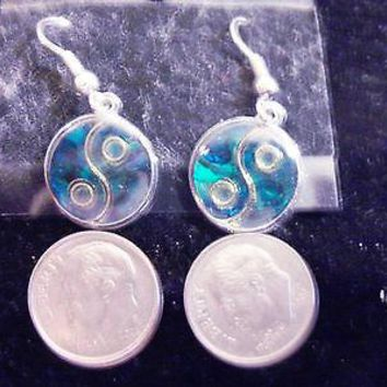 bling sterling silver plated abalone paua shell asian yin yang ear ring hip hop