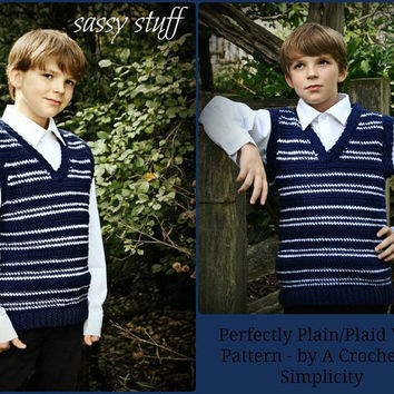 "Crochet Pattern: ""Perfectly Plaid or Plain"" Boys Sweater Vest, Sizes 5/6 years thru 14 years Permission to Sell Finished Items"
