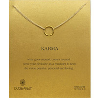 Dogeared Karma Round Circle Drop Gold Plated Chain Clavicle Necklace
