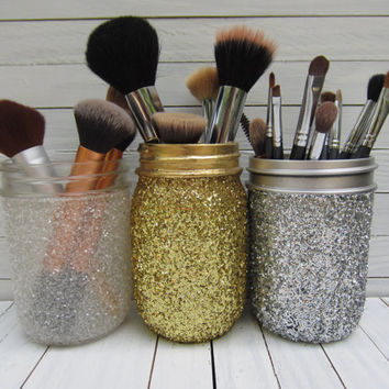 Mason Jar Glitter Makeup Brush Holder, Desk Accessories, Art Brush Holder, Pint Size