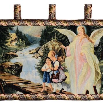 Tache 43 x 23 Guardian Angel With Children On Bridge Tapestry Wall Hanging (12908A)