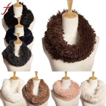 Fashion Accessories Womens SCARF RING Fur Scarf Round Collar Shawl Wrap Stole Scarf Women Winter Neckerchief