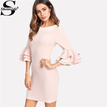 Sheinside Pink Exaggerate Layered Ruffle Flare Sleeve Dress Women Round Neck 3/4 Sleeve Bodycon Dress 2018 Elegant Short Dress