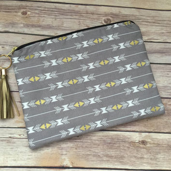Gray and Gold Arrow Clutch with Gold Leather Tassel, Oversized Gray Arrow Clutch, Gold Fringe Clutch