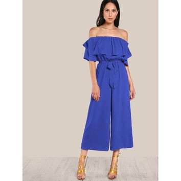 Blue Flounce Off Shoulder Self Tie Culotte Jumpsuit