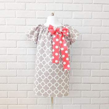 Easter Dress Toddler Baby Girls Gray Pink Handmade Boutique Clothing By Lucky Lizzy's