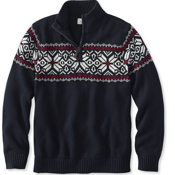 Men's Double L Cotton Sweater, Quarter-Zip Fair Isle | Free Shipping at L.L.Bean