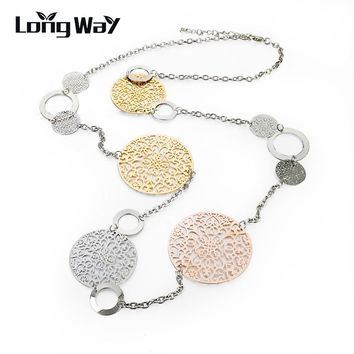 Vintage Necklace Gold Color Silver Color Round Flower Women Necklaces & Pendants