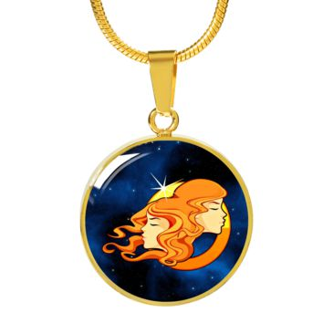 Zodiac Sign Gemini - 18k Gold Finished Luxury Necklace
