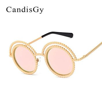 CandisGy Vintage Lace Round Brand designer  Sunglasses Rhinestone Women Hipster Mirror lady UV400 Retro sun glasses Circle Frame