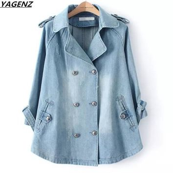 New Korean Loose Denim Cape Coat Female Jacket Double-Breasted Big Size Women Windbreaker A-Line Denim Basic Coats YAFGENZ K534