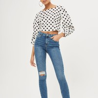 MOTO Mid Blue Ripped Jamie Jeans | Topshop