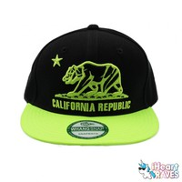 California Republic Snapback Hat - Neon Yellow