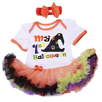 Baby's First Halloween Christmas Pettiskirt Tutu Dress Cotton Romper Baby Clothing
