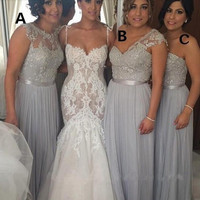 2016 Silver Long Bridesmaid Dresses Cheap Chiffon Beaded Lace Applique Formal Gowns Different Styles A-Line Maid of Honor Dress