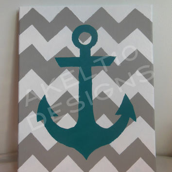 11x14 Gray/White Chevron With Teal Anchor Hand Painted Canvas
