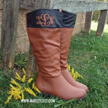 Monogrammed Cognac & Black Two Toned Riding Boots - SIZE 5.5