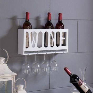 Wine Rack Bottles Wall Holder Display Glass Liquor Mounted Decor Kitchen Wood