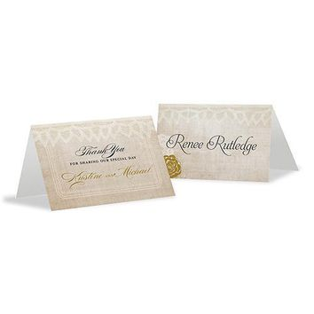Vintage Lace Place Card With Fold Berry (Pack of 1)