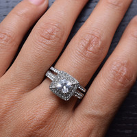 316L Stainless Steel Cubic Zirconia Halo Square Engagement and Wedding Band Ring Sets