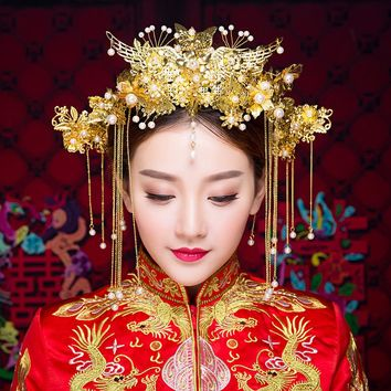 New Bridal Headdress Pageant jewelry Gold Chinese Traditional Hair Accessories