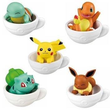 5pieces/set Cup figures pika Squirtle Bulbasaur anime action toy figures model toy Car decoration toy KEN HU STORE esKawaii Pokemon go  AT_89_9