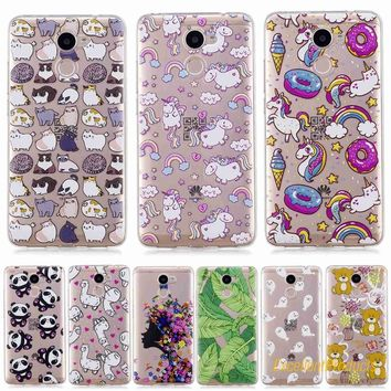 Lovely Cute patterns cat panda bear deer flower tree styles Soft Transparent TPU Phone Case Cover For Huawei Y7 Prime case