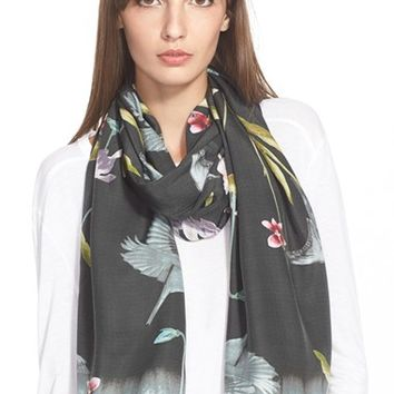Women's Ted Baker London Print Silk Scarf - Black