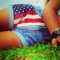 Vintage high waisted American flag denim shorts by by Jeansonly