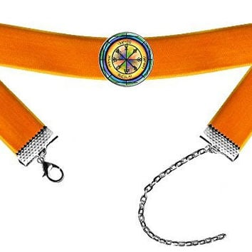 Solomons 1st Venus Seal for Friendship Orange Velvet Choker