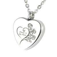 "HooAMI Cremation Jewelry ""Always in my heart"" Flower Memorial Urn Necklace Ashes Keepsake Pendant"