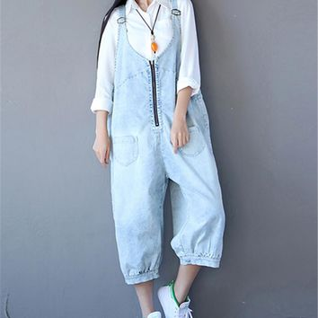 Yesno PC4 Women Loose Casual Jeans Cropped Pants Overalls Rompers Boyfriend Hippie Style Unique Zipper Design