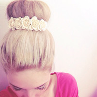 Belle Rose In Ivory Cream, Flower Crown, Bun Crown, Headbands, Hair Accessories, Wedding Accessories