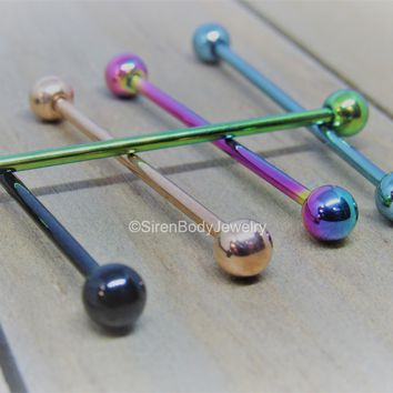 14g Industrial piercing barbell pick your color and length titanium IOP external threading scaffold bar