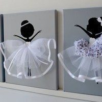 Dancing Ballerinas Wall Decor. Nursery wall art in grey, black and white.