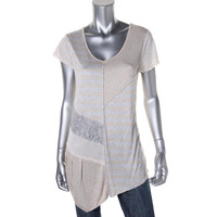 Cable & Gauge Womens Jersey Lace Trim Tunic Top