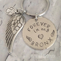 Hand stamped personalized Keychain, memorial, loss, angel wings, always in my heart keyring