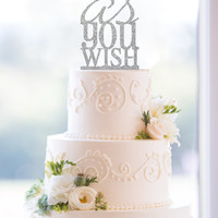 Glitter As You Wish Cake Topper – Custom Princess Bride Wedding Cake Topper Available in 6 Glitter Options