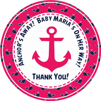 """Girls Nautical Baby Shower Stickers Or Favor Tags - 2.5"""" Round"""