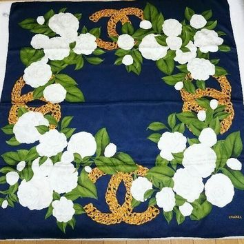 CHANEL Scarf Stole Floral Camellia Flower Silk Women Luxury Auth New Rare 38""