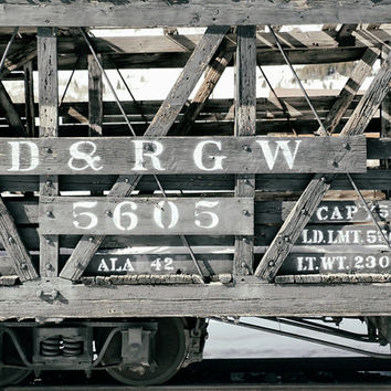 Train Photography, Rustic Photograph, Denver & Rio Grande Western Railroad, Colorado Wall Art, Home Decor |'Boxcar 5605'