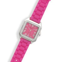 Pink Rubber Fashion Watch with Square Face