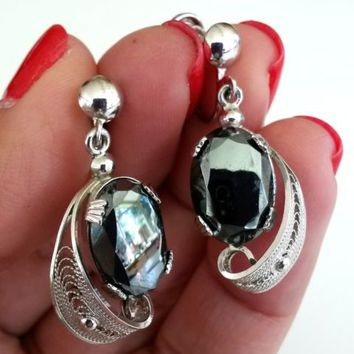 Vtg Hematite Filigree Silver Tone Dangle Screw Back Earrings Sterling Findings