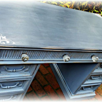 Vintage desk in blue, charcoal top, stenciled and distressed furniture, rustic, crystal knobs, shabby chic, country cottage, beachy,